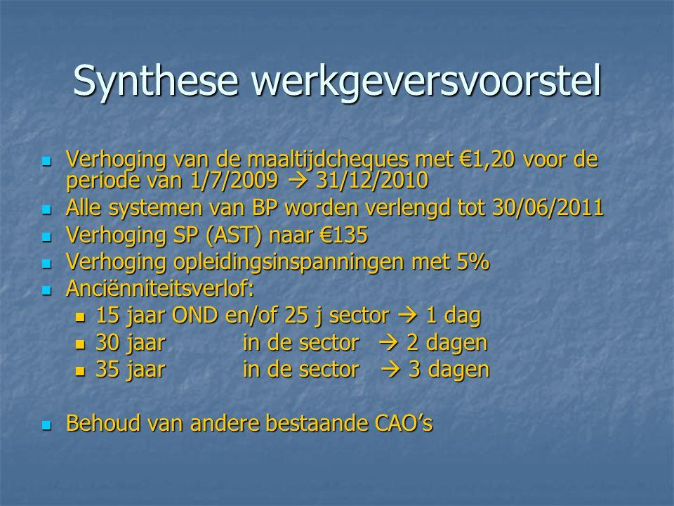Synthese werkgeversvoorstel  Verhoging van de maaltijdcheques met €1,20 voor de periode van 1/7/2009  31/12/2010  Alle systemen van BP worden verlengd tot 30/06/2011  Verhoging SP (AST) naar €135  Verhoging opleidingsinspanningen met 5%  Anciënniteitsverlof:  15 jaar OND en/of 25 j sector  1 dag  30 jaarin de sector  2 dagen  35 jaarin de sector  3 dagen  Behoud van andere bestaande CAO's
