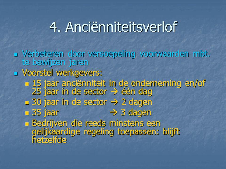 4. Anciënniteitsverlof  Verbeteren door versoepeling voorwaarden mbt.