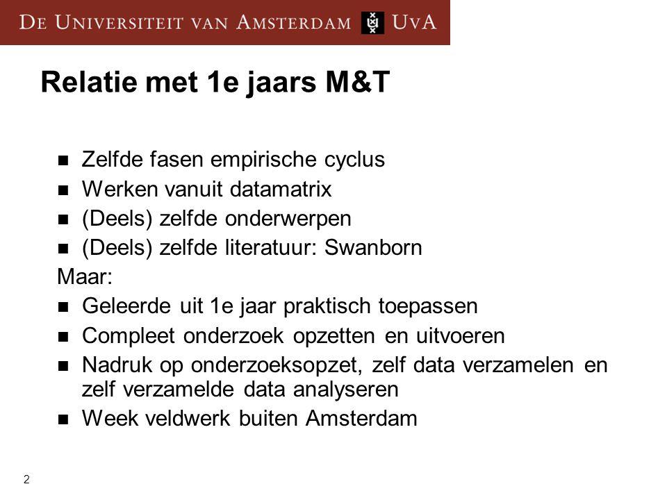 2 Relatie met 1e jaars M&T  Zelfde fasen empirische cyclus  Werken vanuit datamatrix  (Deels) zelfde onderwerpen  (Deels) zelfde literatuur: Swanb
