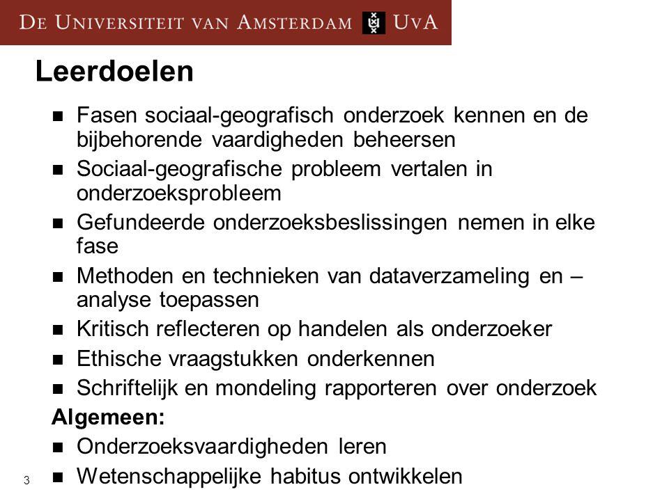 3 Leerdoelen  Fasen sociaal-geografisch onderzoek kennen en de bijbehorende vaardigheden beheersen  Sociaal-geografische probleem vertalen in onderz