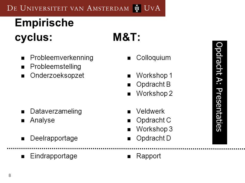 8 Empirische cyclus:M&T:  Probleemverkenning  Probleemstelling  Onderzoeksopzet  Dataverzameling  Analyse  Deelrapportage  Eindrapportage  Col