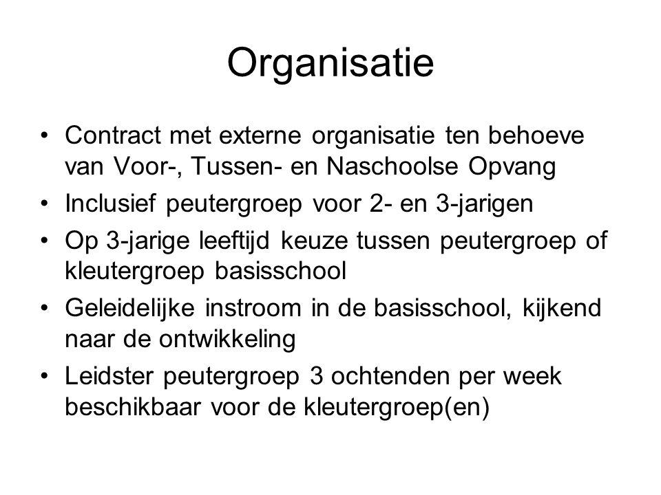 Organisatie •Contract met externe organisatie ten behoeve van Voor-, Tussen- en Naschoolse Opvang •Inclusief peutergroep voor 2- en 3-jarigen •Op 3-ja
