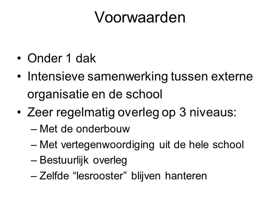 Voorwaarden •Onder 1 dak •Intensieve samenwerking tussen externe organisatie en de school •Zeer regelmatig overleg op 3 niveaus: –Met de onderbouw –Me