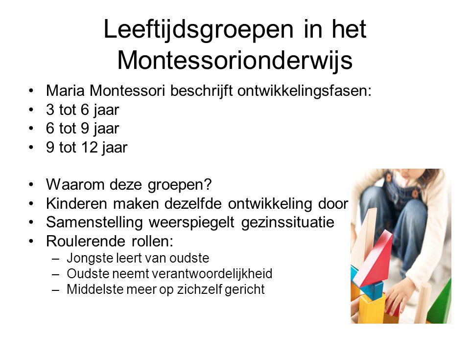 Leeftijdsgroepen in het Montessorionderwijs •Maria Montessori beschrijft ontwikkelingsfasen: •3 tot 6 jaar •6 tot 9 jaar •9 tot 12 jaar •Waarom deze g