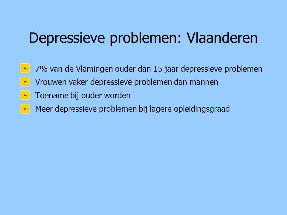 Depressieve problemen: Vlaanderen •7% van de Vlamingen ouder dan 15 jaar depressieve problemen •Vrouwen vaker depressieve problemen dan mannen •Toename bij ouder worden •Meer depressieve problemen bij lagere opleidingsgraad