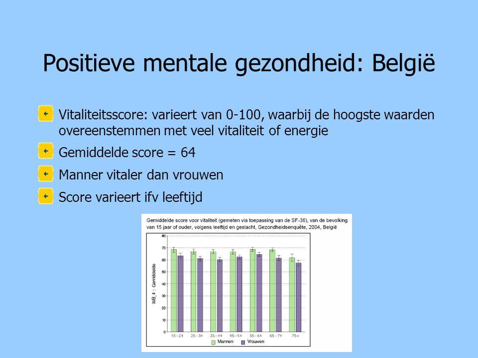 Positieve mentale gezondheid: Vlaanderen •Vitaliteitsscore: varieert van 0-100, waarbij de hoogste waarden overeenstemmen met veel vitaliteit of energie •Gemiddelde score = 70 •Mannen meer energie dan vrouwen •Varieert ifv leeftijd •Varieert niet ifv opleidingsgraad