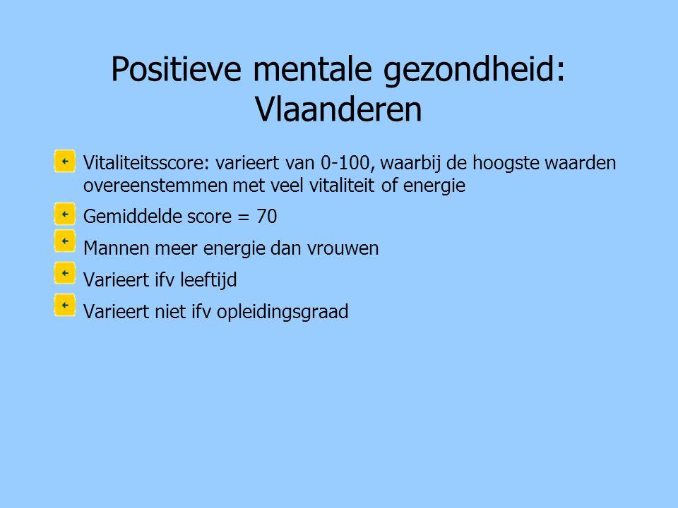 Positieve mentale gezondheid: Vlaanderen •Vitaliteitsscore: varieert van 0-100, waarbij de hoogste waarden overeenstemmen met veel vitaliteit of energ