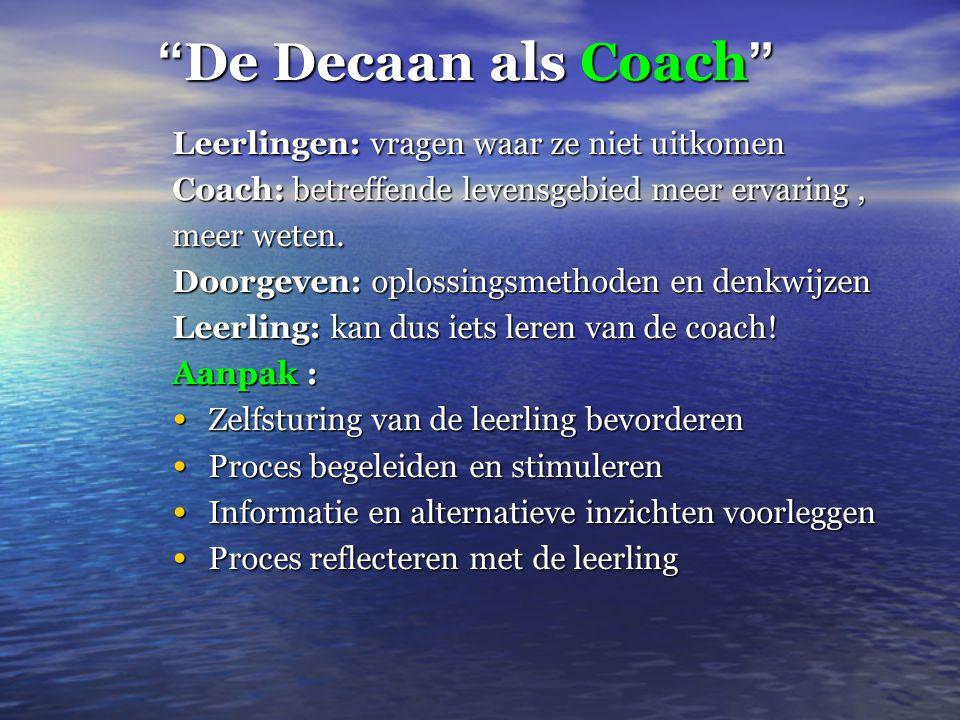 De Decaan als Coach Leerlingen: vragen waar ze niet uitkomen Coach: betreffende levensgebied meer ervaring, meer weten.