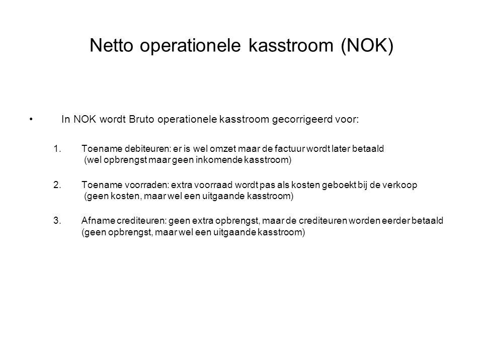 Netto operationele kasstroom (NOK) •In NOK wordt Bruto operationele kasstroom gecorrigeerd voor: 1.Toename debiteuren: er is wel omzet maar de factuur