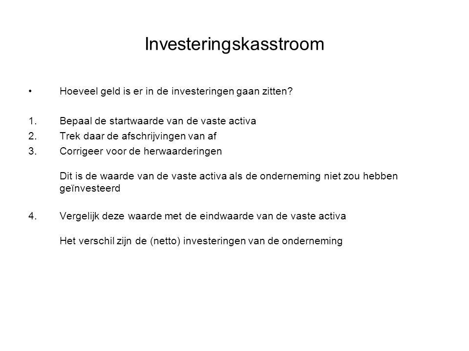 Investeringskasstroom •Hoeveel geld is er in de investeringen gaan zitten? 1.Bepaal de startwaarde van de vaste activa 2.Trek daar de afschrijvingen v