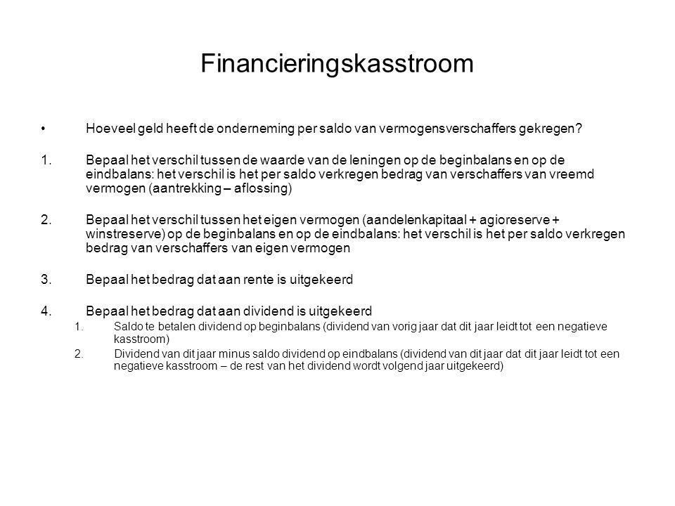 Financieringskasstroom •Hoeveel geld heeft de onderneming per saldo van vermogensverschaffers gekregen? 1.Bepaal het verschil tussen de waarde van de