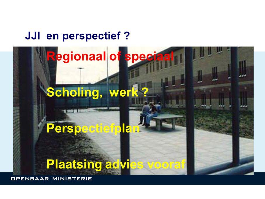 JJI en perspectief ? Regionaal of speciaal Scholing, werk ? Perspectiefplan Plaatsing advies vooraf