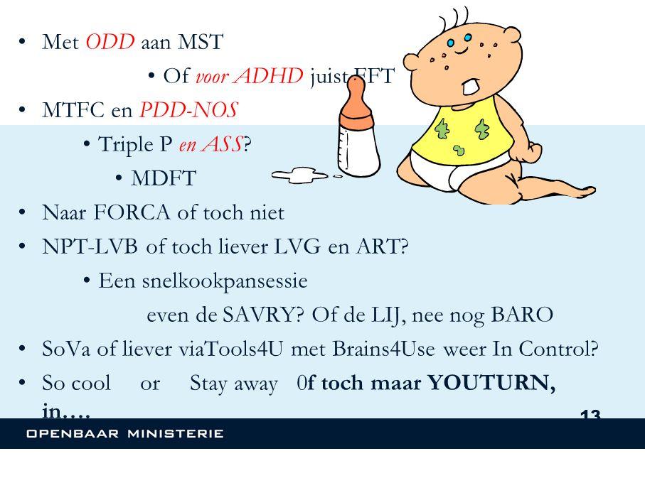 •Met ODD aan MST •Of voor ADHD juist FFT •MTFC en PDD-NOS •Triple P en ASS.