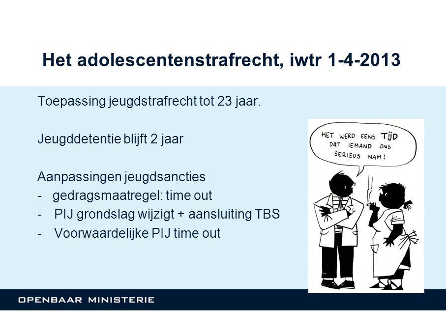 Het adolescentenstrafrecht, iwtr 1-4-2013 Toepassing jeugdstrafrecht tot 23 jaar.