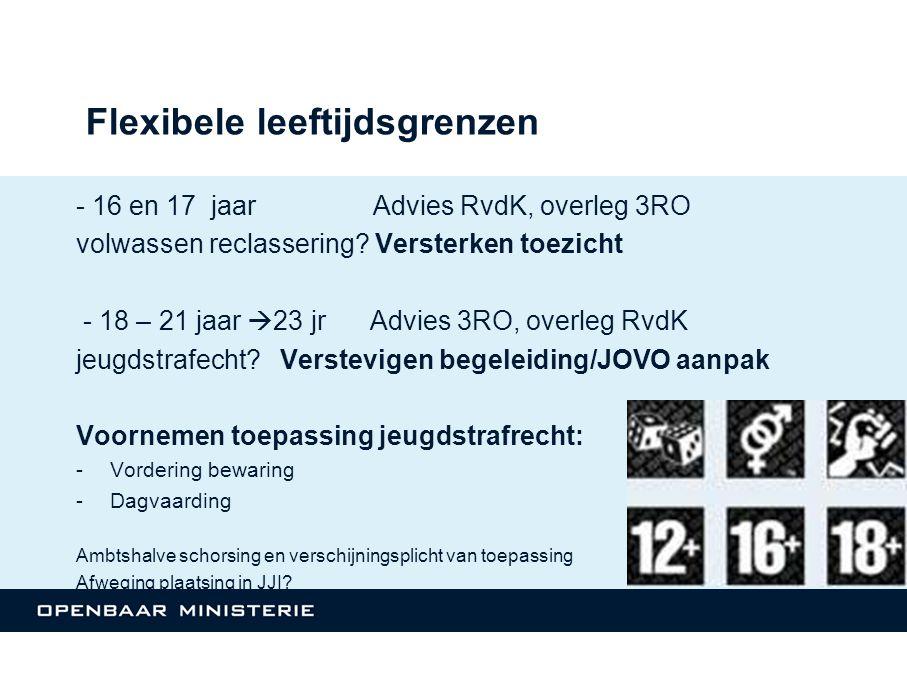 Flexibele leeftijdsgrenzen - 16 en 17 jaar Advies RvdK, overleg 3RO volwassen reclassering.