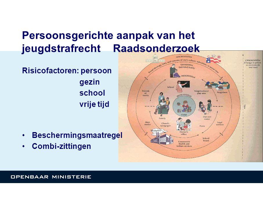 Persoonsgerichte aanpak van het jeugdstrafrecht Raadsonderzoek Risicofactoren: persoon gezin school vrije tijd •Beschermingsmaatregel •Combi-zittingen