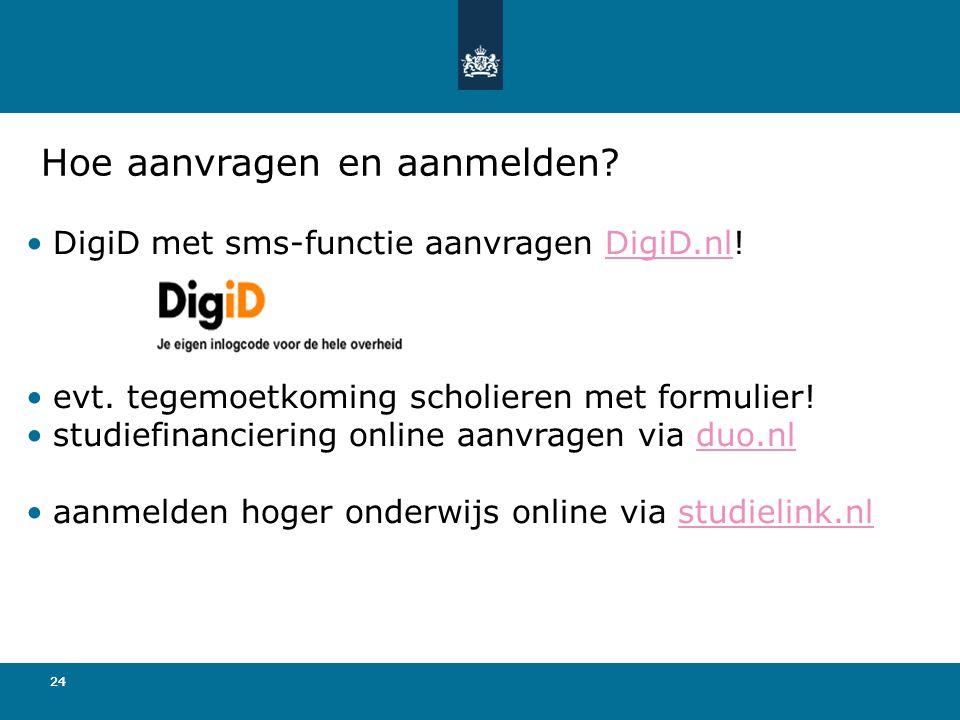 24 Hoe aanvragen en aanmelden.•DigiD met sms-functie aanvragen DigiD.nl!DigiD.nl •evt.