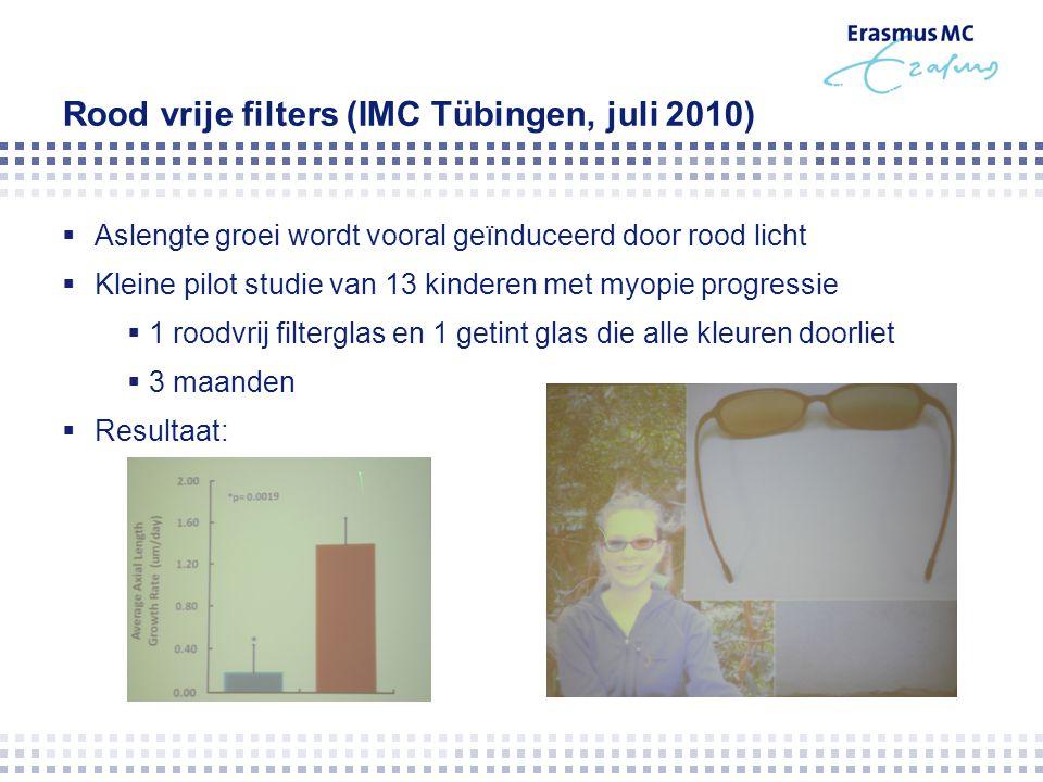 Rood vrije filters (IMC Tübingen, juli 2010)  Aslengte groei wordt vooral geïnduceerd door rood licht  Kleine pilot studie van 13 kinderen met myopi