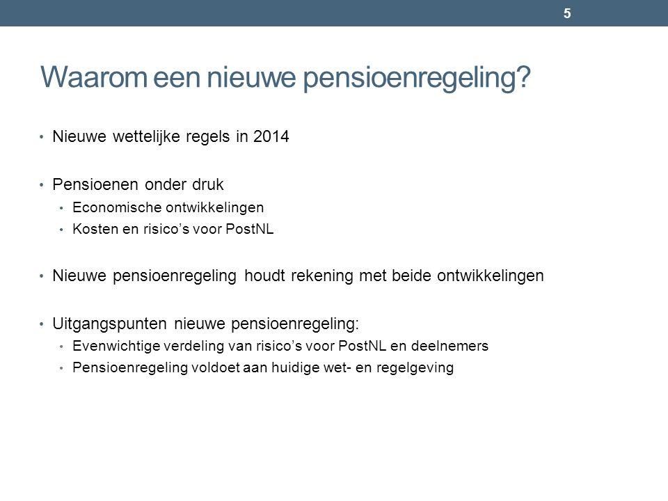 Waarom een nieuwe pensioenregeling? • Nieuwe wettelijke regels in 2014 • Pensioenen onder druk • Economische ontwikkelingen • Kosten en risico's voor