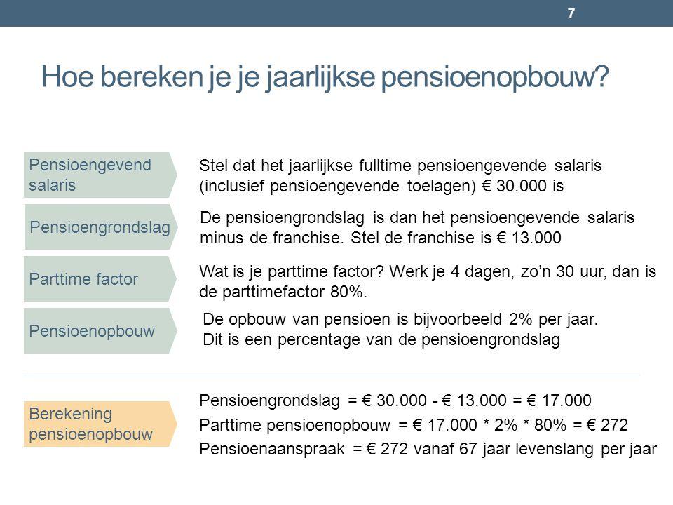Hoe bereken je je jaarlijkse pensioenopbouw? 7 Pensioengevend salaris Stel dat het jaarlijkse fulltime pensioengevende salaris (inclusief pensioengeve