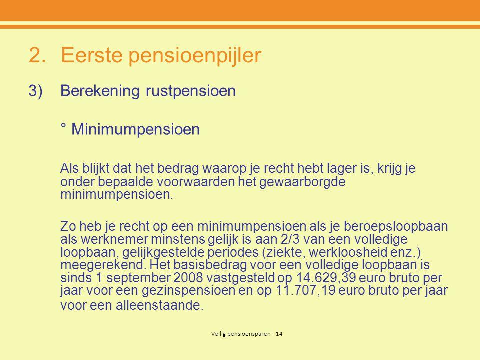 Veilig pensioensparen - 14 2.Eerste pensioenpijler 3)Berekening rustpensioen ° Minimumpensioen Als blijkt dat het bedrag waarop je recht hebt lager is, krijg je onder bepaalde voorwaarden het gewaarborgde minimumpensioen.