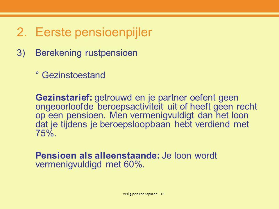 Veilig pensioensparen - 16 2.Eerste pensioenpijler 3)Berekening rustpensioen ° Gezinstoestand Gezinstarief: getrouwd en je partner oefent geen ongeoorloofde beroepsactiviteit uit of heeft geen recht op een pensioen.