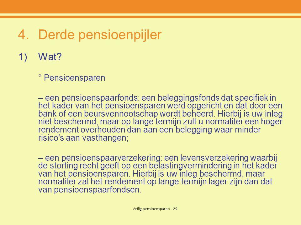 Veilig pensioensparen - 29 4.Derde pensioenpijler 1)Wat? ° Pensioensparen – een pensioenspaarfonds: een beleggingsfonds dat specifiek in het kader van