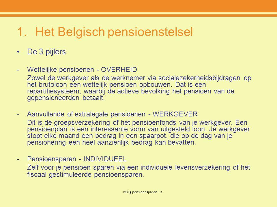 Veilig pensioensparen - 3 1.Het Belgisch pensioenstelsel •De 3 pijlers -Wettelijke pensioenen - OVERHEID Zowel de werkgever als de werknemer via socialezekerheidsbijdragen op het brutoloon een wettelijk pensioen opbouwen.