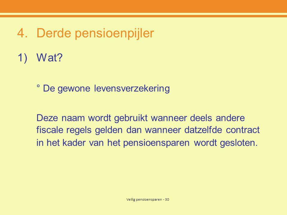 Veilig pensioensparen - 30 4.Derde pensioenpijler 1)Wat.