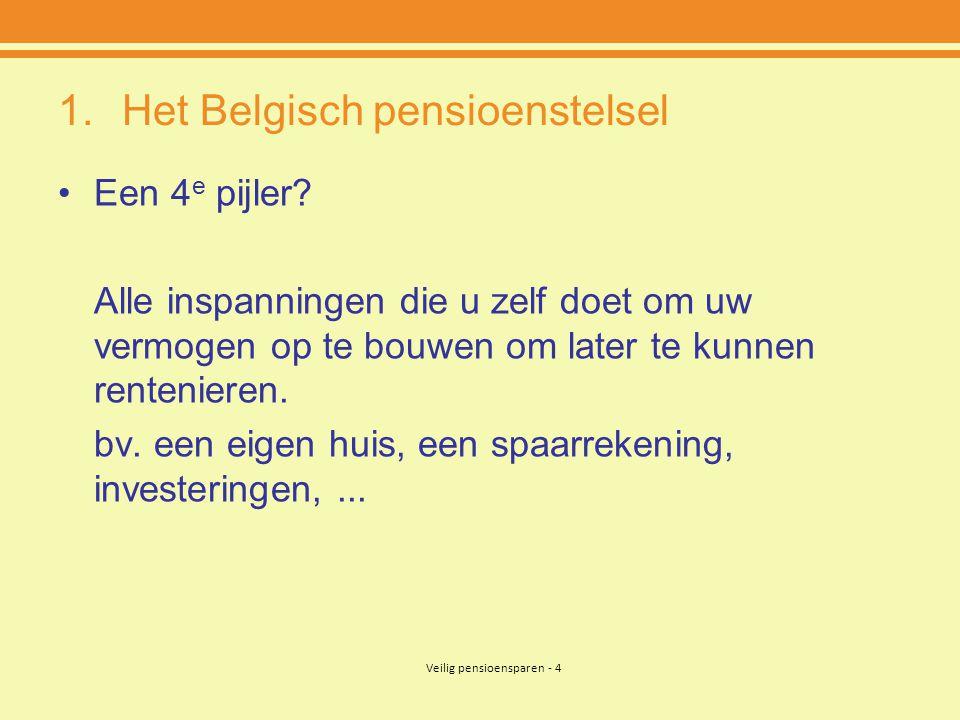 Veilig pensioensparen - 4 1.Het Belgisch pensioenstelsel •Een 4 e pijler? Alle inspanningen die u zelf doet om uw vermogen op te bouwen om later te ku