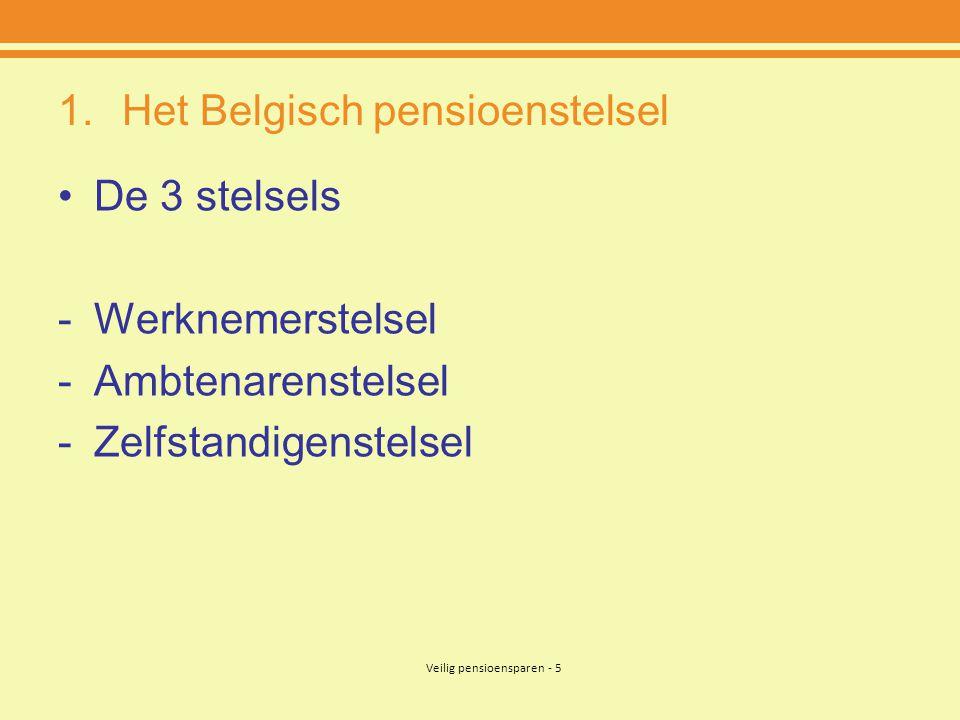Veilig pensioensparen - 5 1.Het Belgisch pensioenstelsel •De 3 stelsels -Werknemerstelsel -Ambtenarenstelsel -Zelfstandigenstelsel
