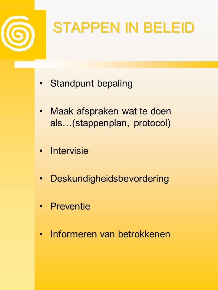 STAPPEN IN BELEID •Standpunt bepaling •Maak afspraken wat te doen als…(stappenplan, protocol) •Intervisie •Deskundigheidsbevordering •Preventie •Infor