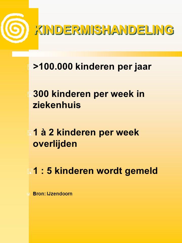 KINDERMISHANDELINGKINDERMISHANDELING  >100.000 kinderen per jaar  300 kinderen per week in ziekenhuis  1 à 2 kinderen per week overlijden  1 : 5 k