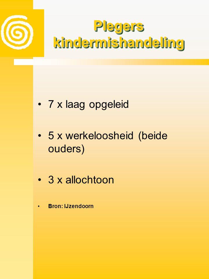 Plegers kindermishandeling •7 x laag opgeleid •5 x werkeloosheid (beide ouders) •3 x allochtoon •Bron: IJzendoorn