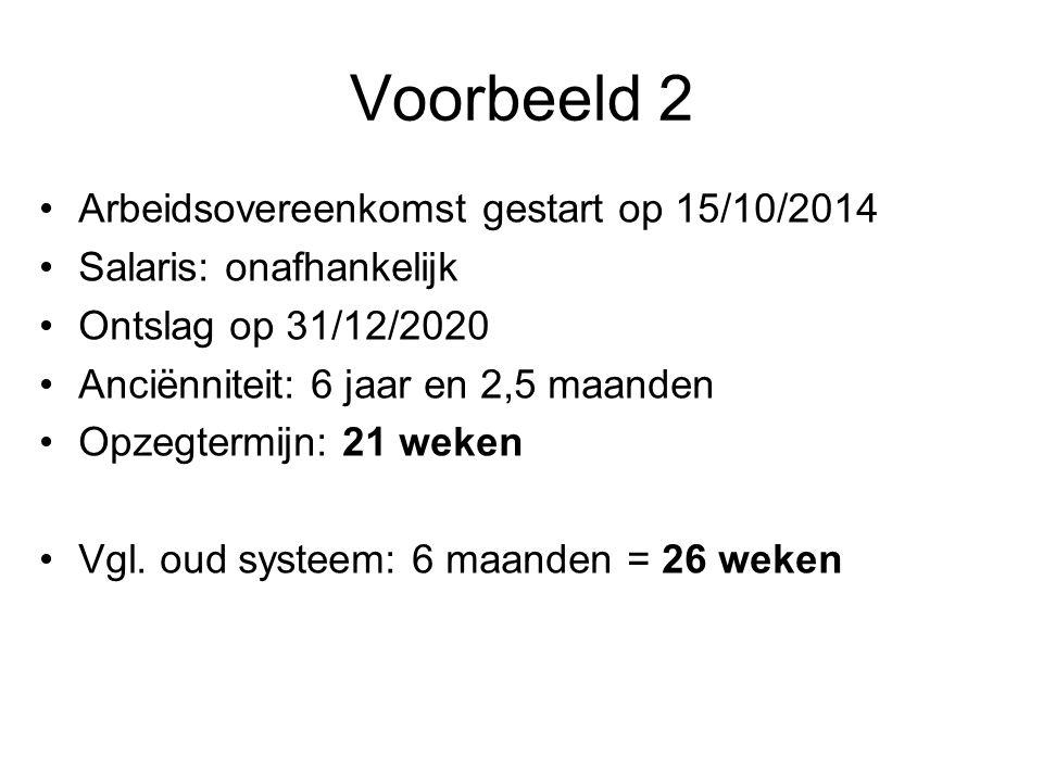 Voorbeeld 2 •Arbeidsovereenkomst gestart op 15/10/2014 •Salaris: onafhankelijk •Ontslag op 31/12/2020 •Anciënniteit: 6 jaar en 2,5 maanden •Opzegtermijn: 21 weken •Vgl.