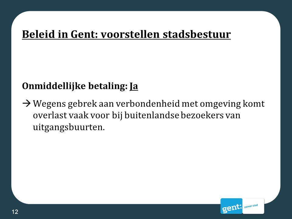 Beleid in Gent: voorstellen stadsbestuur Onmiddellijke betaling: Ja  Wegens gebrek aan verbondenheid met omgeving komt overlast vaak voor bij buitenl