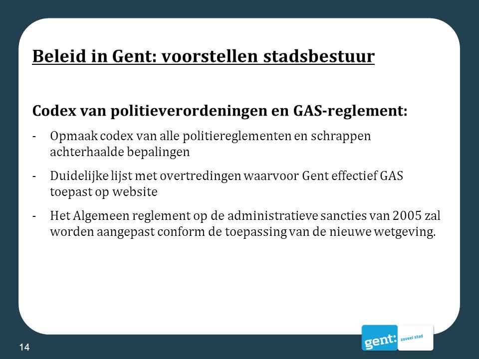 Beleid in Gent: voorstellen stadsbestuur Codex van politieverordeningen en GAS-reglement: -Opmaak codex van alle politiereglementen en schrappen achte