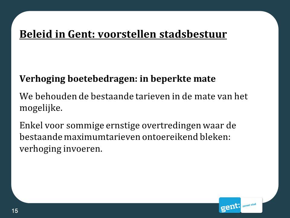 Beleid in Gent: voorstellen stadsbestuur Verhoging boetebedragen: in beperkte mate We behouden de bestaande tarieven in de mate van het mogelijke. Enk