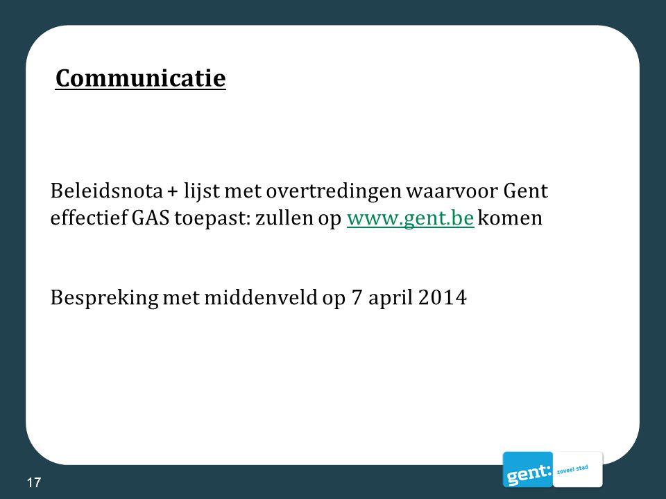 Communicatie Beleidsnota + lijst met overtredingen waarvoor Gent effectief GAS toepast: zullen op www.gent.be komenwww.gent.be Bespreking met middenve