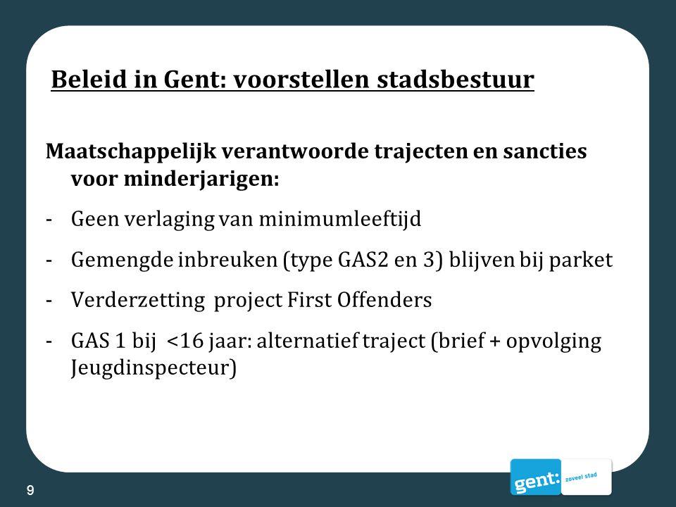 Beleid in Gent: voorstellen stadsbestuur Maatschappelijk verantwoorde trajecten en sancties voor minderjarigen: -Geen verlaging van minimumleeftijd -G