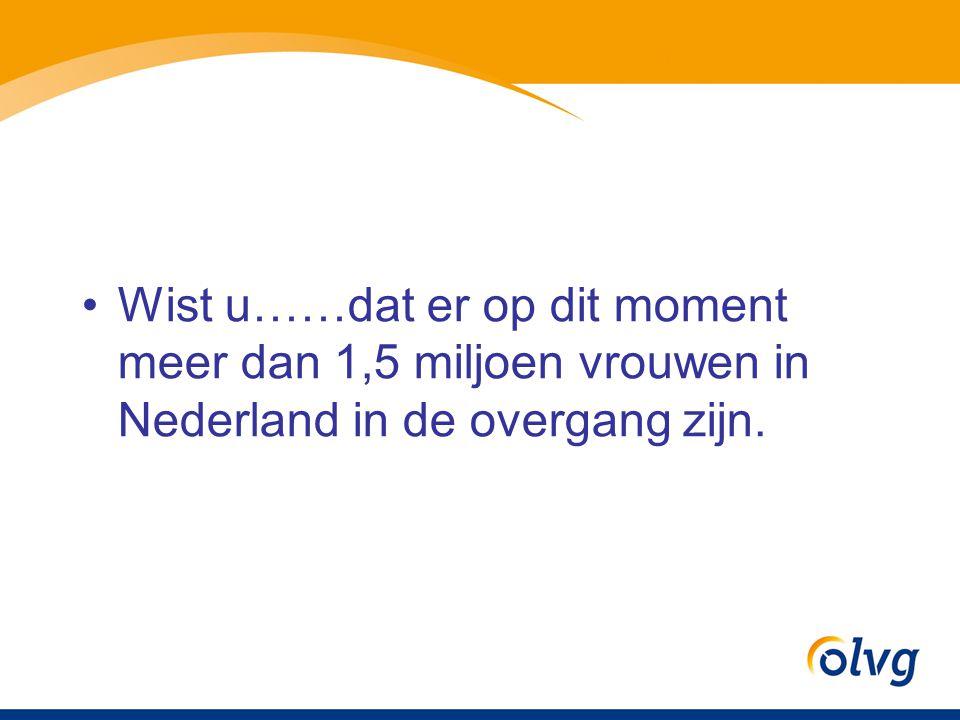 Voorkomen overgangsklachten In Nederland heeft 80% van de vrouwen overgangsklachten.