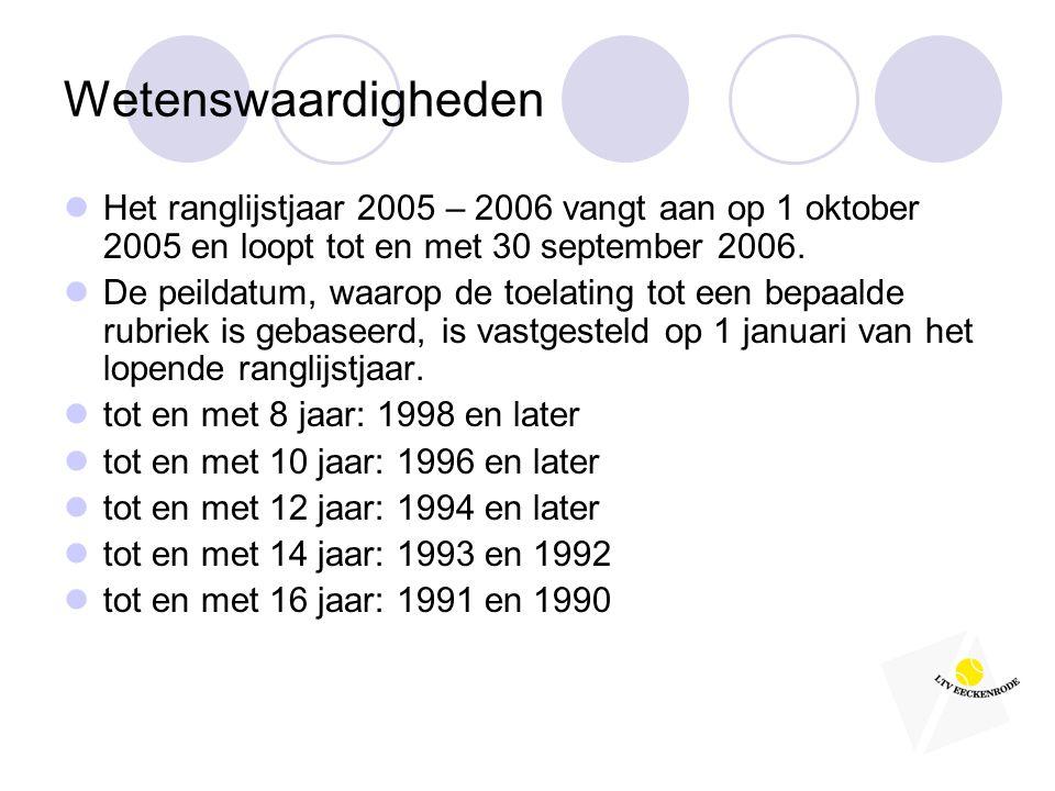 Wetenswaardigheden  Het ranglijstjaar 2005 – 2006 vangt aan op 1 oktober 2005 en loopt tot en met 30 september 2006.