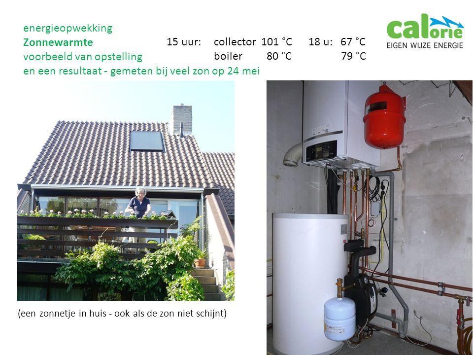 (een zonnetje in huis - ook als de zon niet schijnt) 15 uur:collector 101 °C18 u: 67 °C boiler 80 °C 79 °C energieopwekking Zonnewarmte voorbeeld van opstelling en een resultaat - gemeten bij veel zon op 24 mei