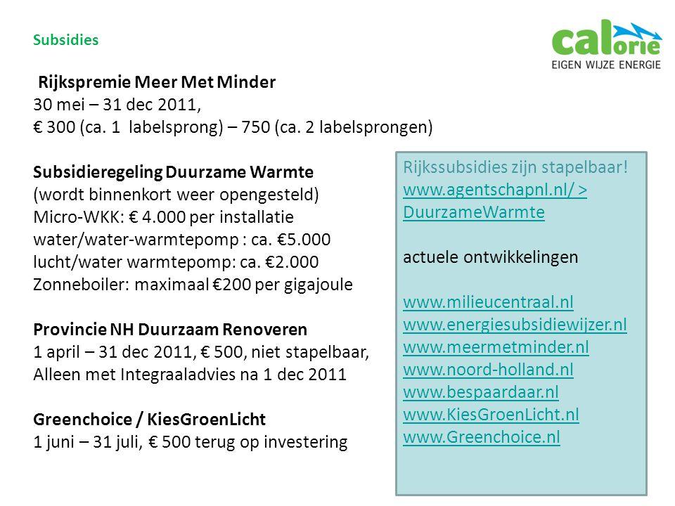 Subsidies Rijkspremie Meer Met Minder 30 mei – 31 dec 2011, € 300 (ca.