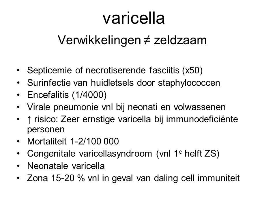 varicella Verwikkelingen ≠ zeldzaam •Septicemie of necrotiserende fasciitis (x50) •Surinfectie van huidletsels door staphylococcen •Encefalitis (1/400