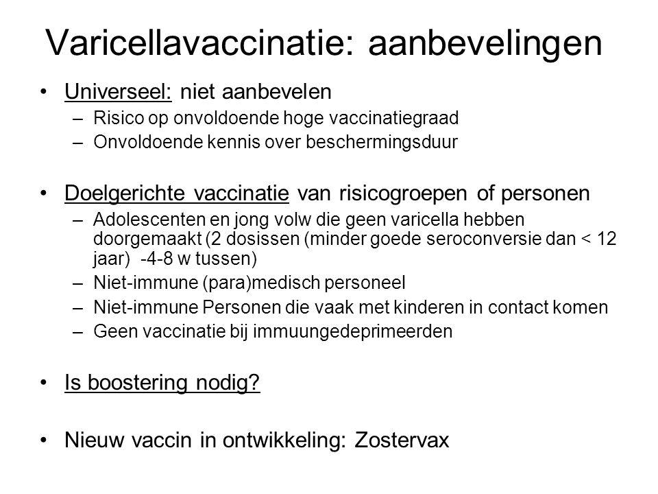 Varicellavaccinatie: aanbevelingen •Universeel: niet aanbevelen –Risico op onvoldoende hoge vaccinatiegraad –Onvoldoende kennis over beschermingsduur