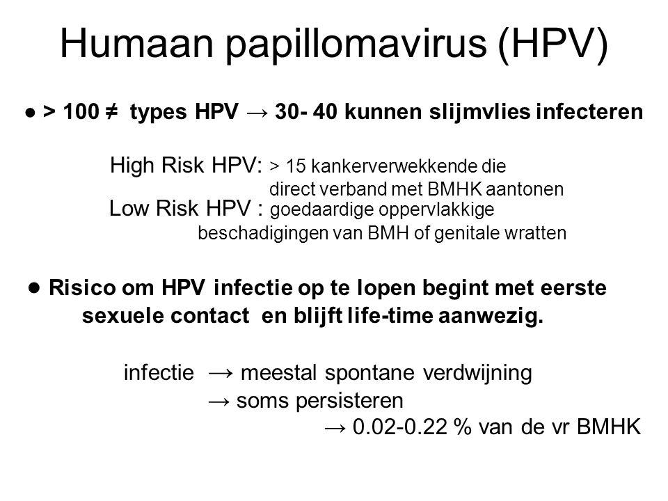 Humaan papillomavirus (HPV) ● > 100 ≠ types HPV → 30- 40 kunnen slijmvlies infecteren High Risk HPV: > 15 kankerverwekkende die direct verband met BMH