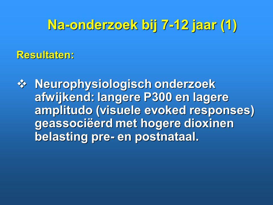 Resultaten:  Neurophysiologisch onderzoek afwijkend: langere P300 en lagere amplitudo (visuele evoked responses) geassociëerd met hogere dioxinen bel