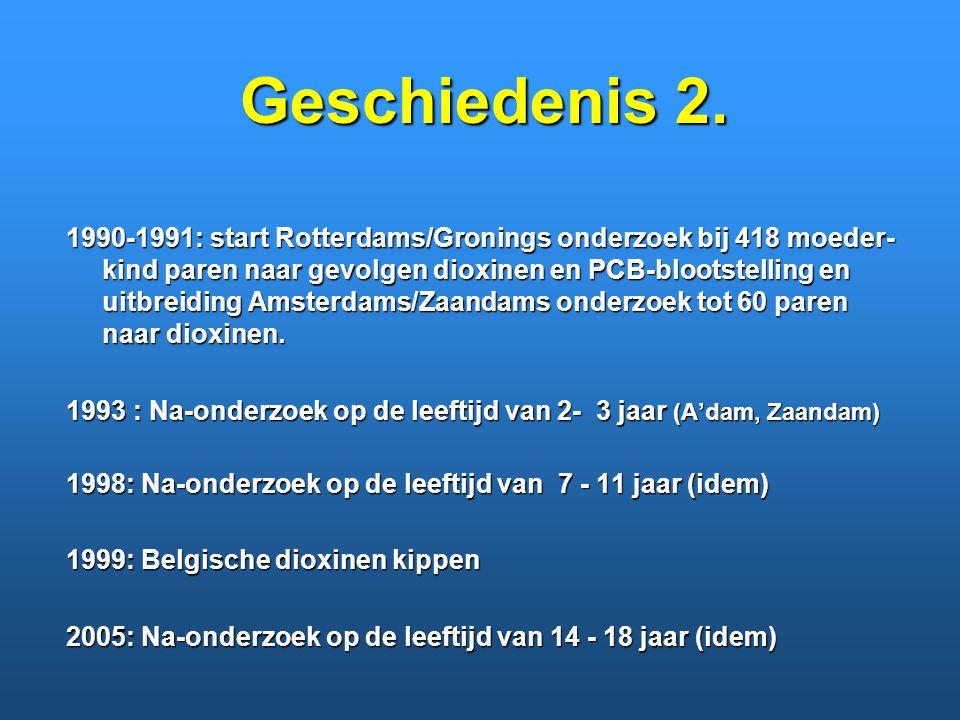 Geschiedenis 2. 1990-1991: start Rotterdams/Gronings onderzoek bij 418 moeder- kind paren naar gevolgen dioxinen en PCB-blootstelling en uitbreiding A