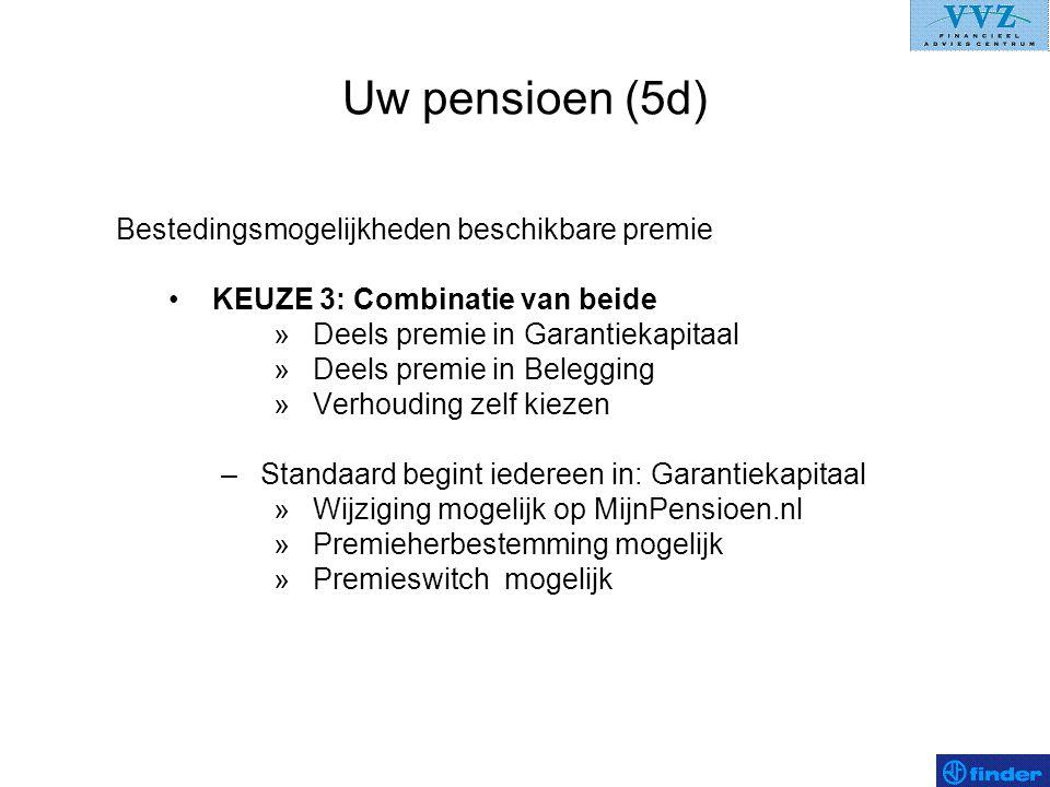 Uw pensioen (5d) Bestedingsmogelijkheden beschikbare premie •KEUZE 3: Combinatie van beide »Deels premie in Garantiekapitaal »Deels premie in Beleggin